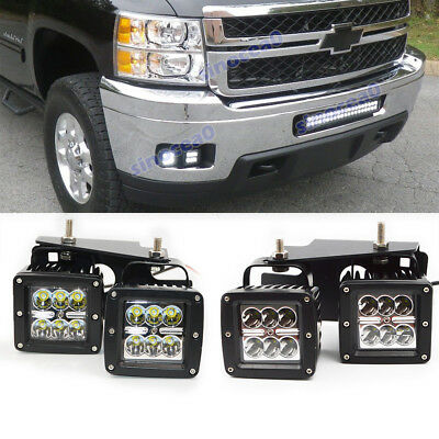 07 Chevrolet Silverado 1500 Light - For 09-14 Chevrolet Silverado 1500/2500 24W LED Fog light Pod Hidden Bumper Kit