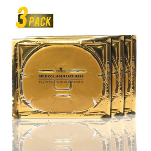 3 Packs 24K Gold Collagen Facial Face Mask Moisture Anti Agi