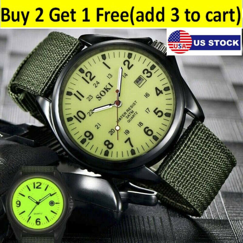 USA Military Army Mens Date Canvas Straps Analog Quartz Sports Wrist Watch Gift
