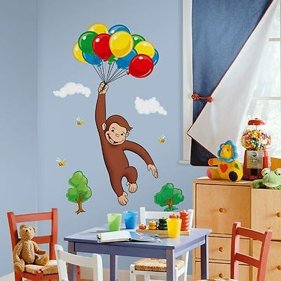 Curious George Wall Decor - CURIOUS GEORGE Monkey Wall Stickers PARTY DECORATIONS Room Decor Decals Balloons