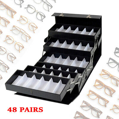 48 Slots Glasses Display Fully Expanded Lockable Organizer Box For Shop Display