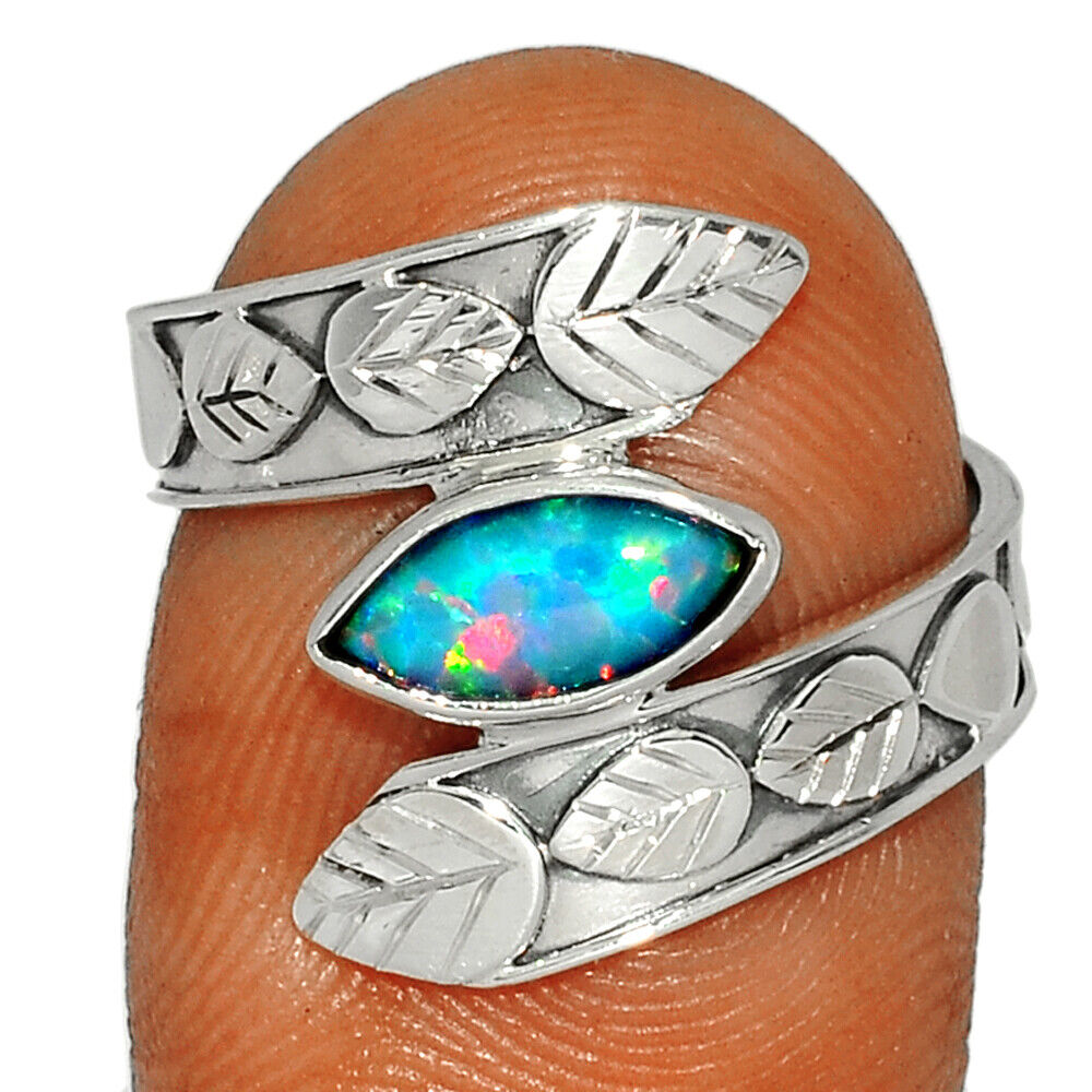 Fire Opal 925 Sterling Silver Ring Jewelry S.8 BR37081 282G - $10.99