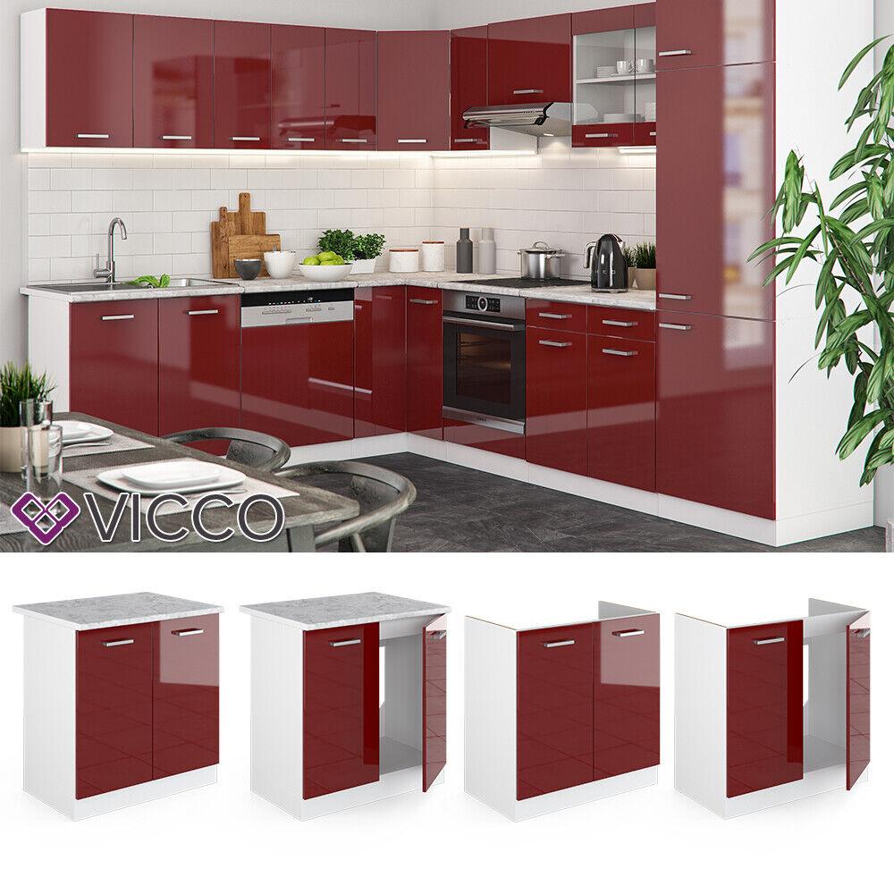 VICCO Küchenschrank Hängeschrank Unterschrank Küchenzeile R-Line Spülenunterschrank 80 cm bordeaux