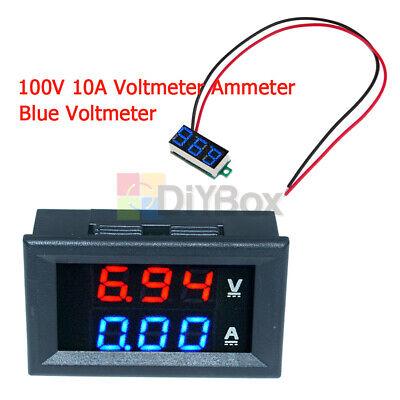 Dc 100v 10a Bluered Led Voltmeter Ammeter Amp Dual Digital Volt Amp Meter