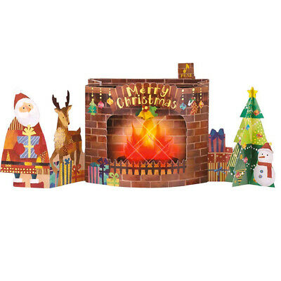 Flickering Flame Fireplace Lights and 5 Music Pop Up Christmas Card ()