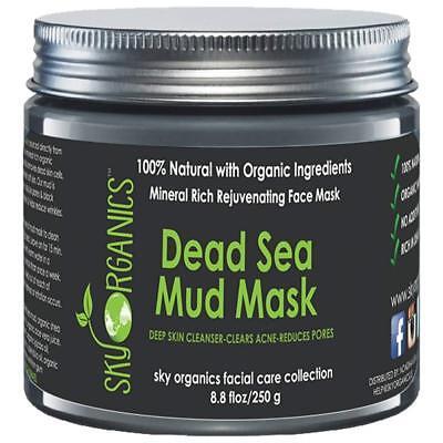 Dead Sea Mud Mask by Sky Organics For Face, Acne, Oily Skin Blackheads