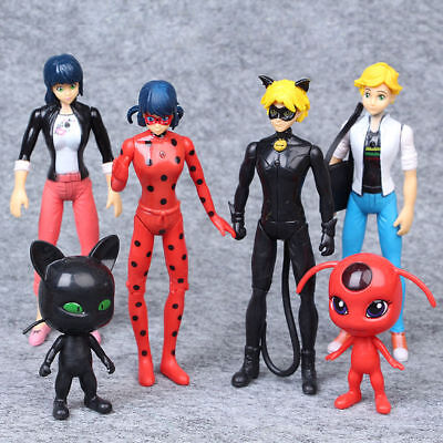 Cat Doll Toys (Mirraculous Ladybug Tikki Noir Cat Plagg Adrien 6 PCS Action Figures Doll)