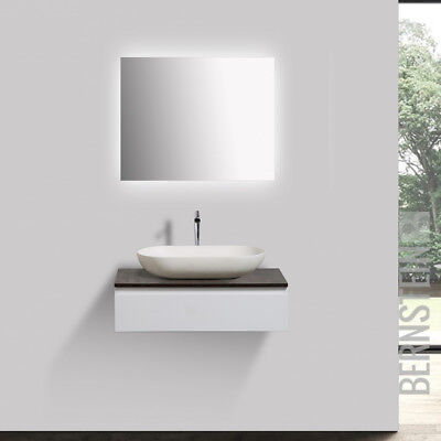 Badmöbel Vision 70cm Weiß LED Spiegel Aufsatzwaschbecken Unterschrank Waschtisch