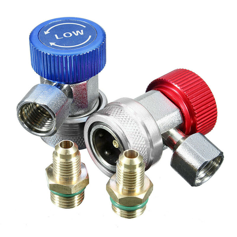 2 Sets Car A/C Air Condition Quick Coupler Adapter H/L Manifold Connector R134A