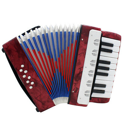 Red Accordion 17-Key 8 Bass Beginner Musical Model Toys For S3Z8