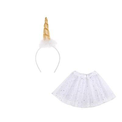 Gold und Weiß Einhorn Bekleidungsset - Tutu und Gold Hupe Stirnband - Kostüm ()