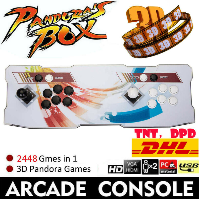 New 3D Pandora Box 9 Games 2448 in 1 Vintage Arcade Game Console 2 Players EG#