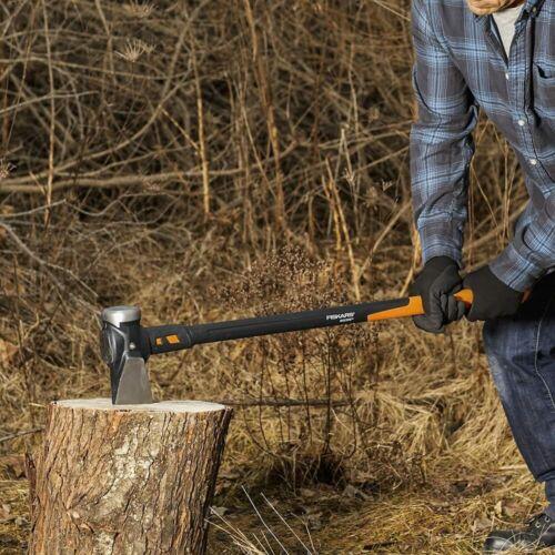 8 lb Forged Steel Maul Fiberglass Handle Wood Splitting Axe Rust-Resistant Blade
