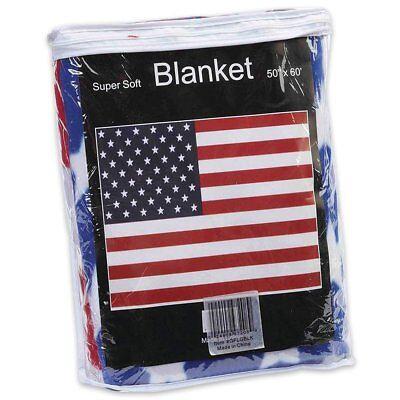 American Flag America USA Red White Blue Fleece Blanket NEW 50