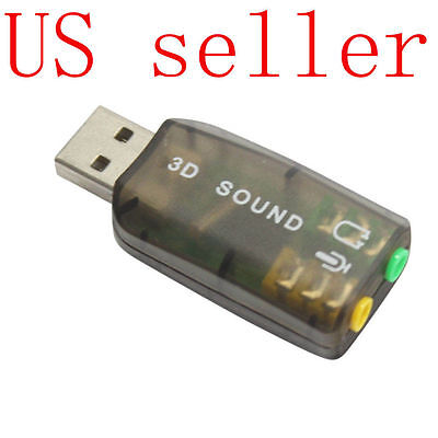 Black External USB 2.0 to 3D Virtual Audio Sound Card Adapter Converter 7.1 CH Computers/Tablets & Networking