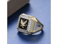 Fashion Eagle Rings for Men 18k Yellow Gold Plated Jewelry Gift Size 8