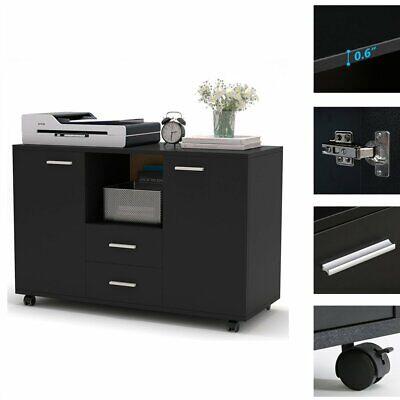 2-drawer Rolling Filing Cabinet 2 Doors File Storage Organizer Home Office Black