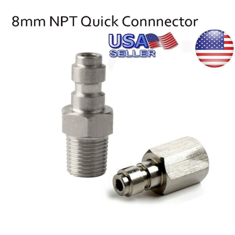 1/8NPT Stainless Steel 8MM Male Plug Quick Coupler Connector Male Thread For PCP