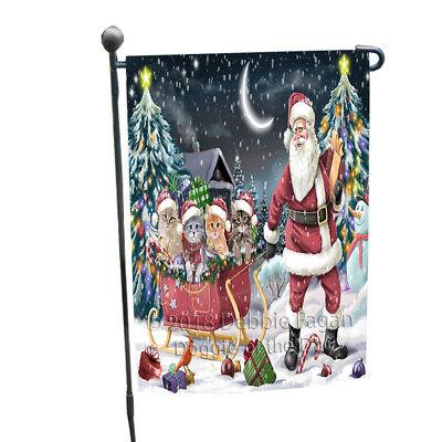 Santa Sled Christmas Happy Holidays Siberian Cats Garden Flag GFLG54442