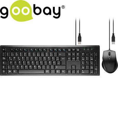 Goobay PC USB Tastatur & Maus 2400 DPi Desktop Set Standard Keyboard DE layout