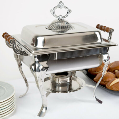 Half Size 4 Qt. Silver Stainless Steel Rectangle Catering Party Chafing Dish