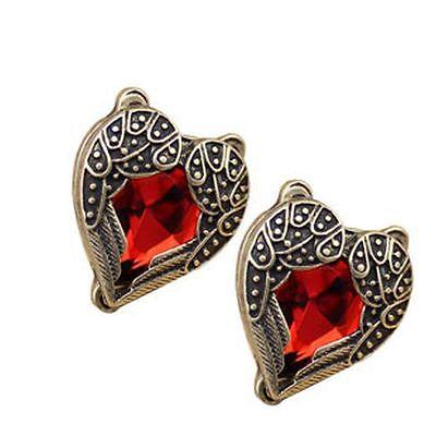 Deco Style Heart - Art Deco vintage retro style heart angel wings earrings