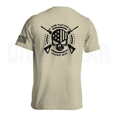 One Nation Under God Military Mens Shirt American Flag Skull Army S 3Xl