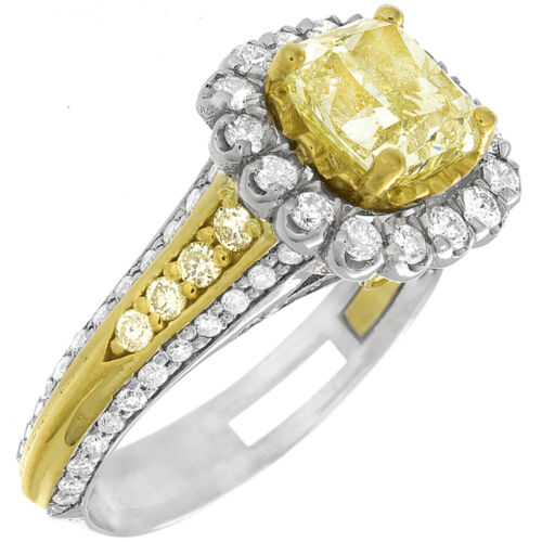 Fancy Yellow Cushion Cut Diamond Engagement Ring GIA Certified  2-tone 4 CTW