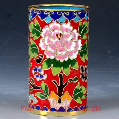 Chinese  Cloisonne Hand-painted Flower Brush Pots JTL045