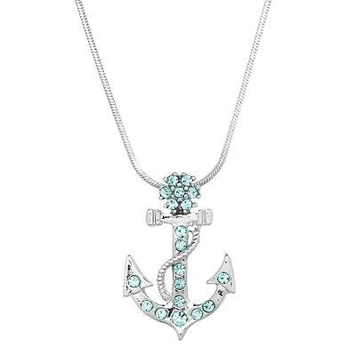 Anchor Charm Pendant Necklace - Sparkling Crystal - 17
