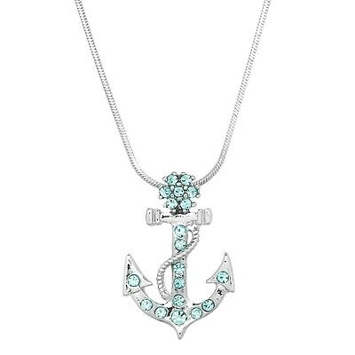 "Anchor Charm Pendant Necklace - Sparkling Crystal - 17"" Chain - 4 Colors"