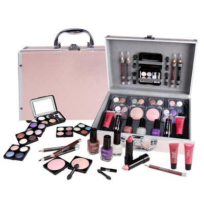 Schminkkoffer Set Profi Qualität 42-teilig im Alukoffer Beauty Case pink rosa