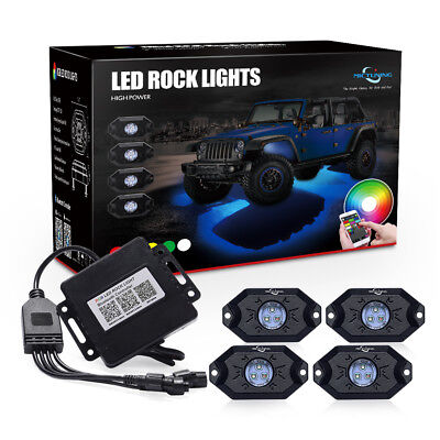 MICTUNING 2nd-Gen RGB LED Rock Lights with Bluetooth Controller 4 Pods Neon LEDs