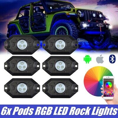 6x Pods RGB LED Rock Lights Accessories Kit Offroad Underbody Lamp Bluetooth APP