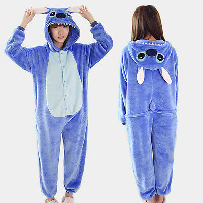 Men Women Kigurumi Pajama Animal Cosplay Costume Onepiece Sleepwear Blue Stitch - Men Animal Costumes