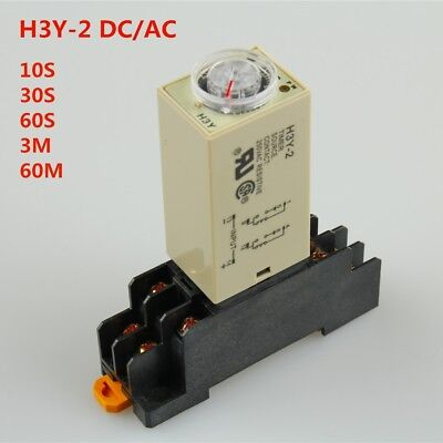 H3y-2 Dcac Delay Timer Time Relay 10s30s60s3min60min With Base Us Shipping