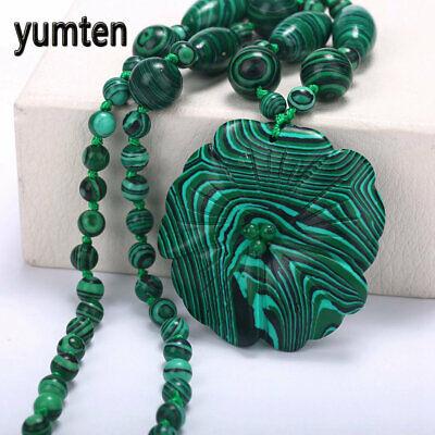 Yumten Malachite Necklace Jewelry Carved Pendant Fashion Choker Accessories Gift