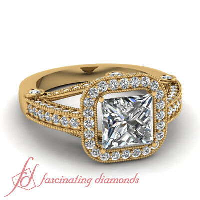 Yellow Gold Halo Diamond Engagement Rings With Princess Cut For Women 1.4 Ct GIA