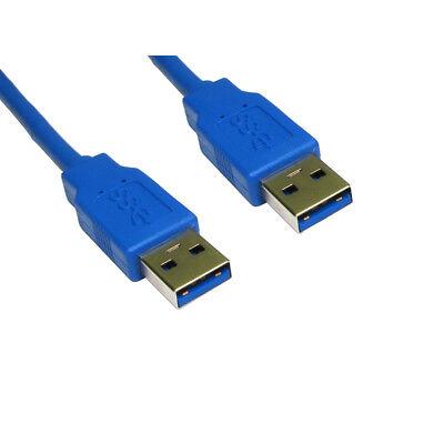 1m USB 3.0 Type A Male to A Male Data Cable Lead - Super Fast Speed - Blue, usado segunda mano  Embacar hacia Mexico