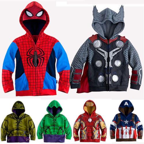 Kids Boys Superhero Spiderman Hooded Jacket Coat Hoodie Swea