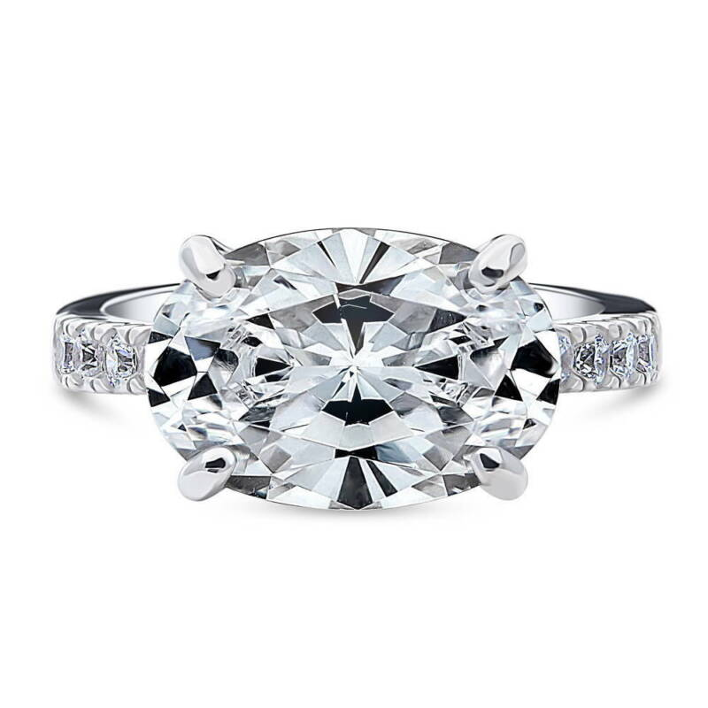 BERRICLE Sterling Silver Oval Cut CZ East-West Solitaire Wedding Engagement Ring