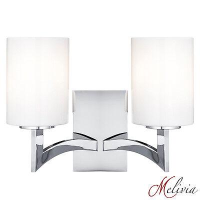 Moderne Wandleuchte Chrom Silber Glas 2x60W Wandlampe Elegant Wandleuchter  ()