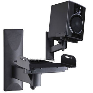 Speaker-Wall-Mount-Bracket-Large-Bookshelf-Steel-Surround-Sound-Tilt-Swivel-3LH