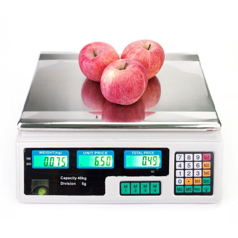 ACS-30 40kg/5g Digital Price Computing Scale for Vegetable US Plug Silver & Whi