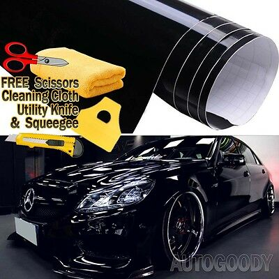 "84"" x 60"" Gloss Black Vinyl Film Wrap Sticker Decal Air Bubble Free 7ft x 5ft"