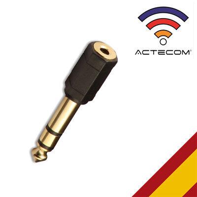 ACTECOM® ADAPTADOR MINI JACK HEMBRA 3,5mm A JACK MACHO 6,3 CALIDAD v100
