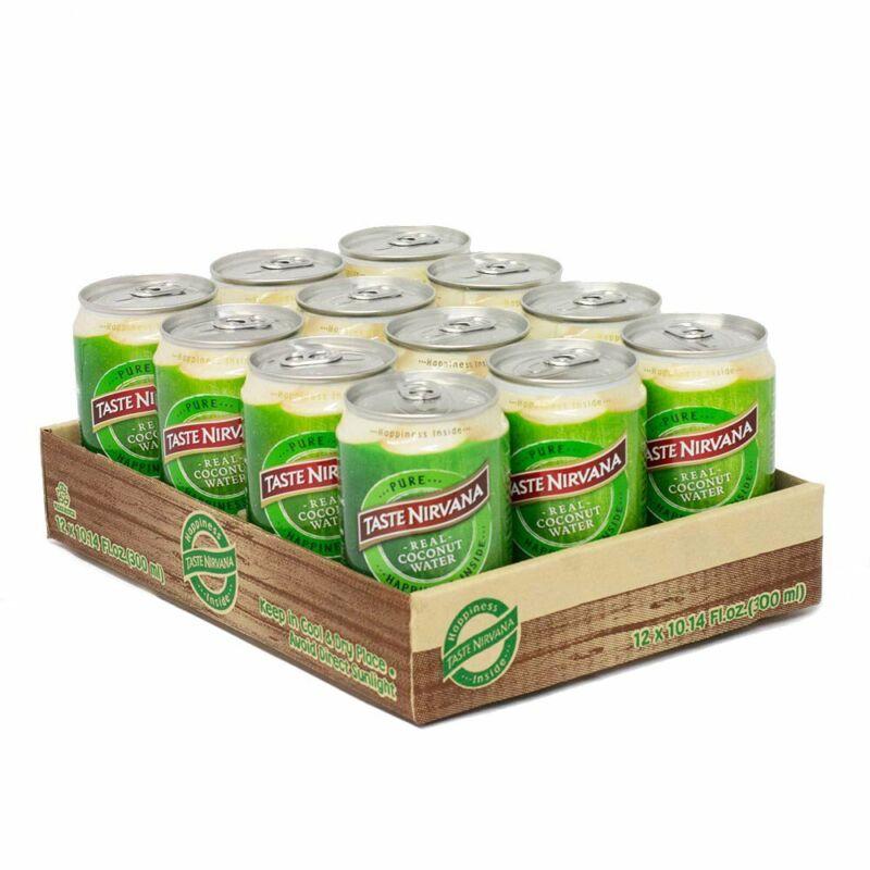 Taste Nirvana Real Coconut Water Premium Coconut Water 10.14 Oz Cans 12 Pack