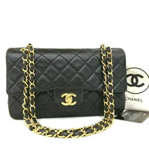 CHANEL Double Flap 23 Quilted CC Logo Lambskin w/Chain Shoulder Bag Black/368
