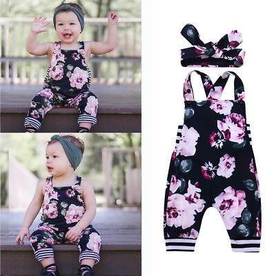 Mode Baby Kleinkind Mädchen Kleidung Set Blume Gedruckt Spielanzug Stirnband Set ()
