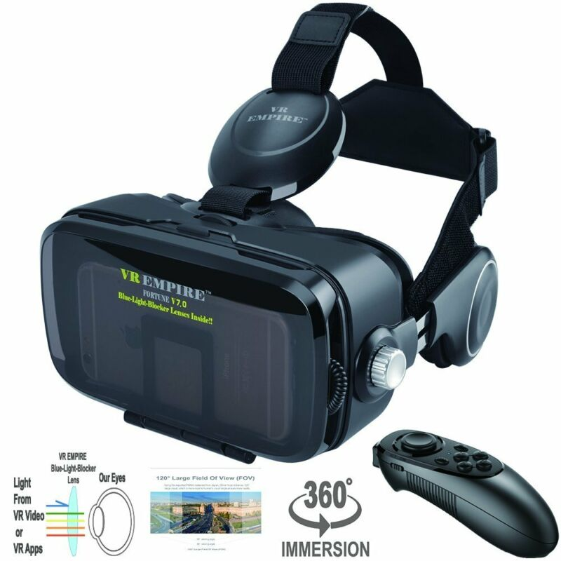 VR Headset with VR Remote with 120° FOV & Anti-Blue-Light Lens